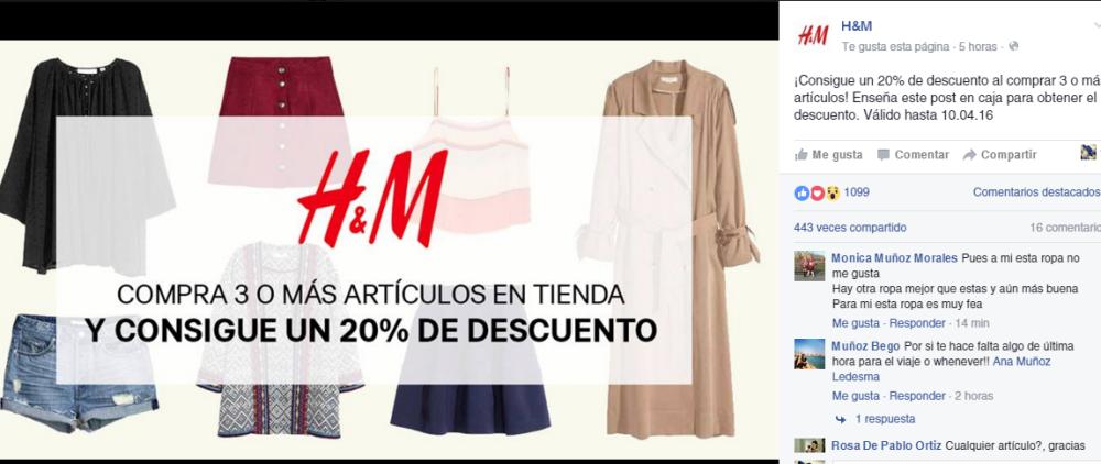 banner promoción h&m 20% de descuento