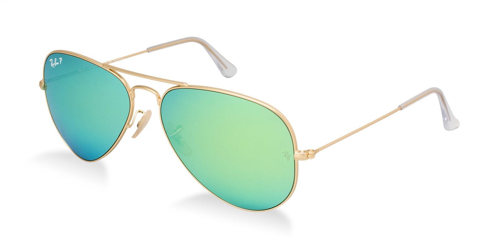 Gafas de sol aviador con doble puente doradas y polarizadas azul intenso